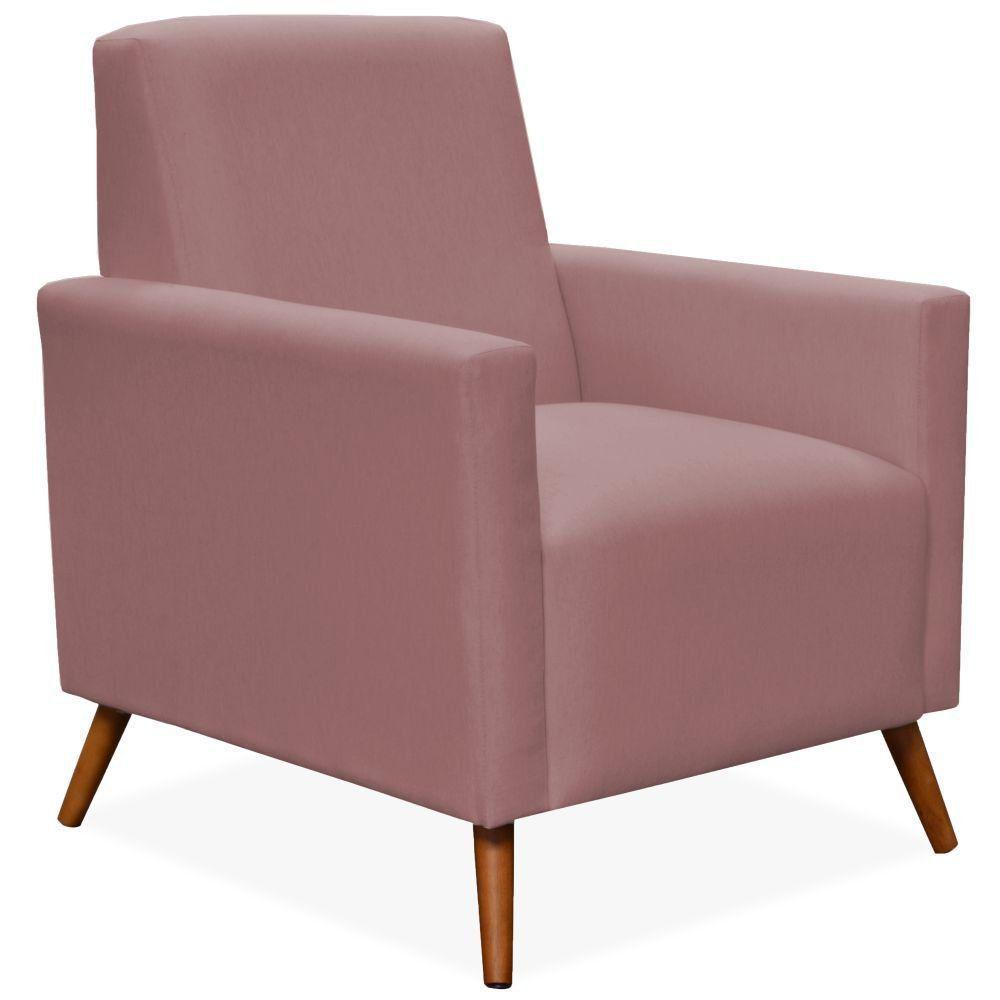 Poltrona Decorativa Para Sala de Estar Pés Palito Liz P02 Suede Rosê - Lyam Decor