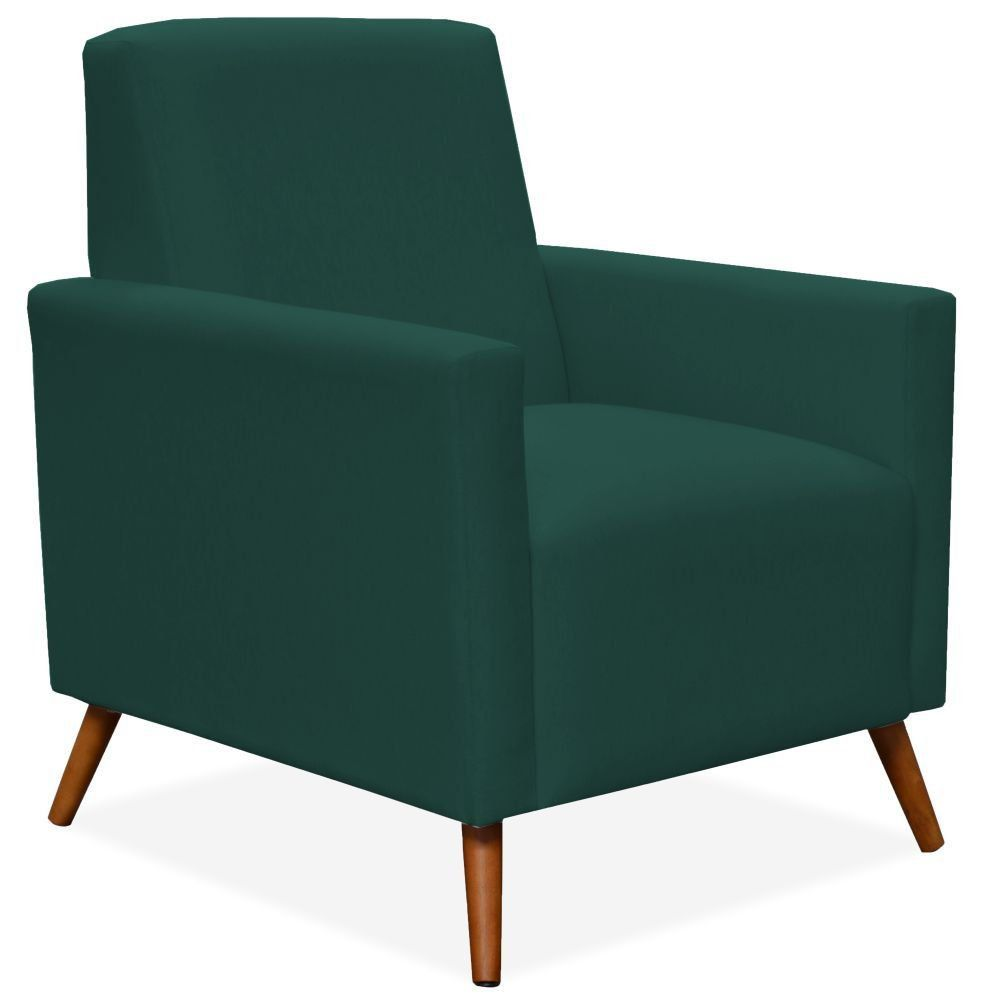 Poltrona Decorativa Para Sala de Estar Pés Palito Liz P02 Suede Verde Musgo - Lyam Decor