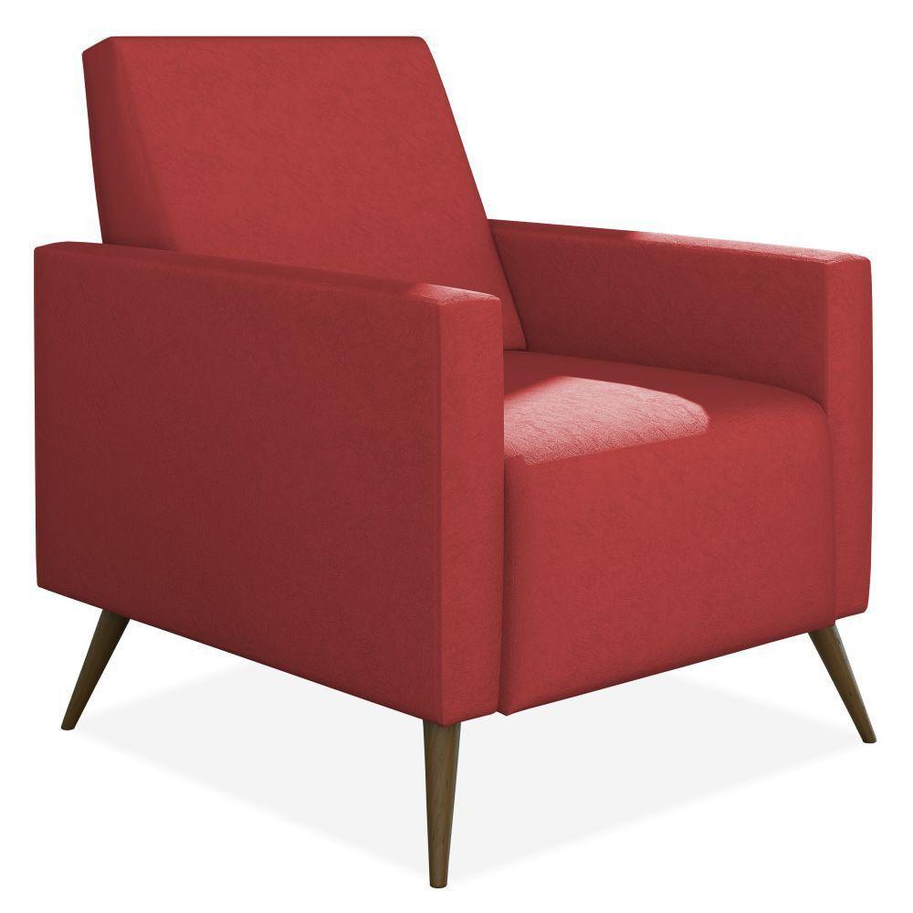 Poltrona Decorativa Para Sala de Estar Pés Palito Liz P02 Suede Vermelho - Lyam Decor