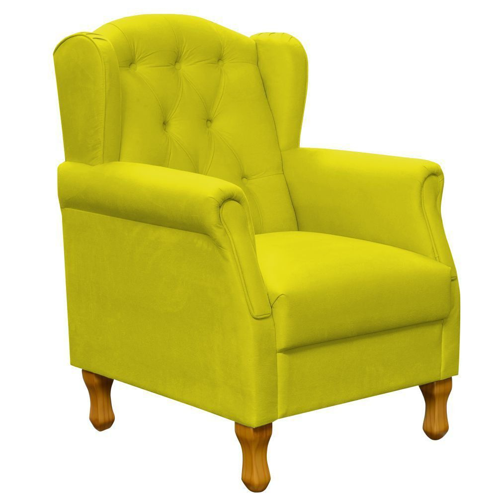Poltrona Decorativa Para Sala de Estar Yara P02 Suede Amarelo - Lyam Decor