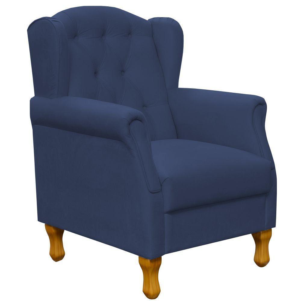 Poltrona Decorativa Para Sala de Estar Yara P02 Suede Azul Marinho - Lyam Decor