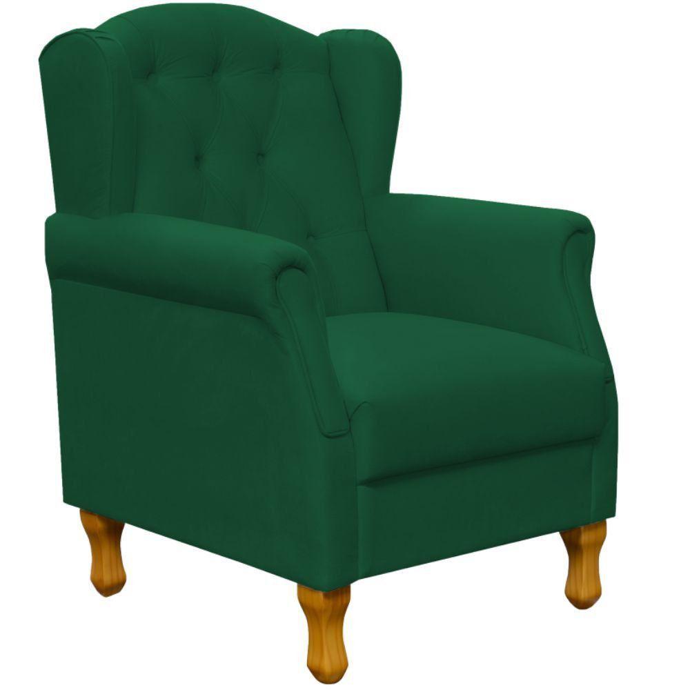 Poltrona Decorativa Para Sala de Estar Yara P02 Suede Verde Musgo - Lyam Decor