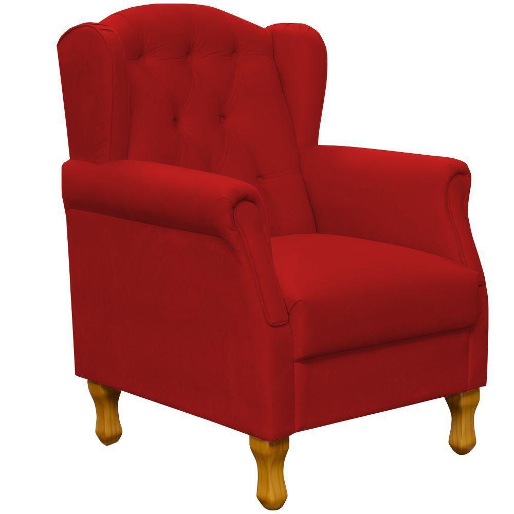 Poltrona Decorativa Para Sala de Estar Yara P02 Suede Vermelho - Lyam Decor