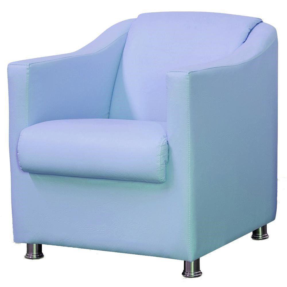 Poltrona Decorativa Para Sala e Escritório Laura L02 Corino Azul - Lyam Decor