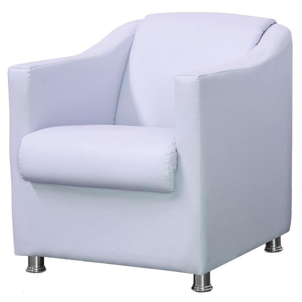 Poltrona Decorativa Para Sala e Escritório Laura L02 Corino Branco - Lyam Decor