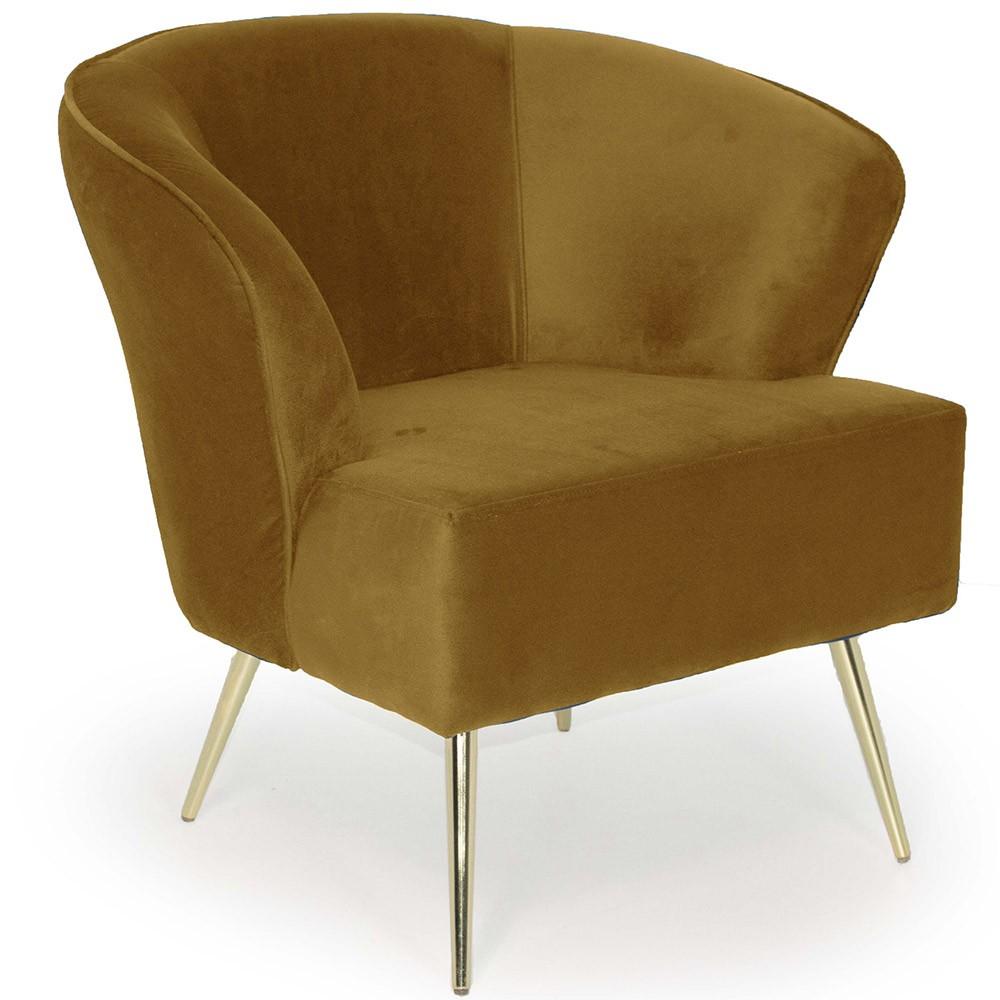 Poltrona Decorativa Pés Palito D'ouro Íris D02 Veludo Mostarda B-279 - Lyam Decor