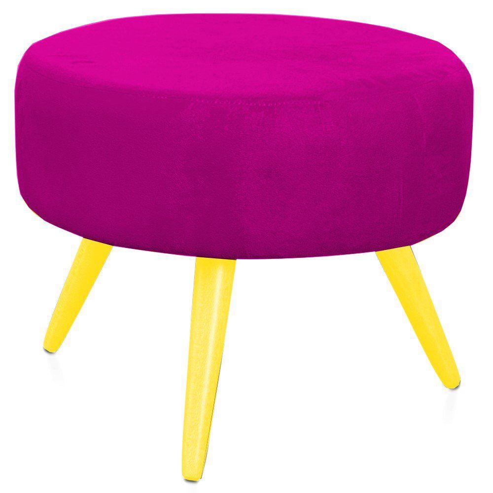 Puff Angel L02 Redondo Suede Pink Pés Palito Amarelo - Lyam Decor