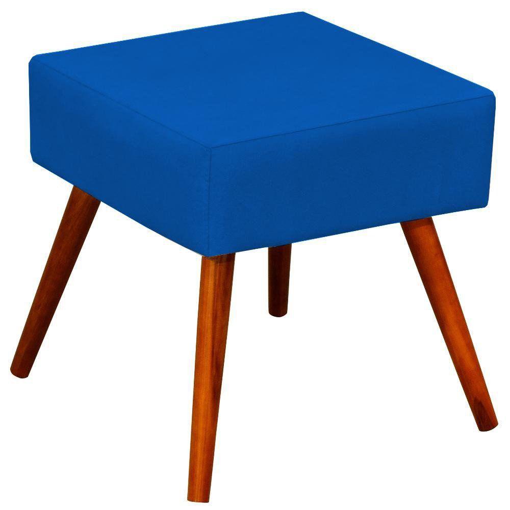 Puff Banqueta Decorativa com Pés Palito Lívia W01 Suede Azul Royal - Lyam Decor