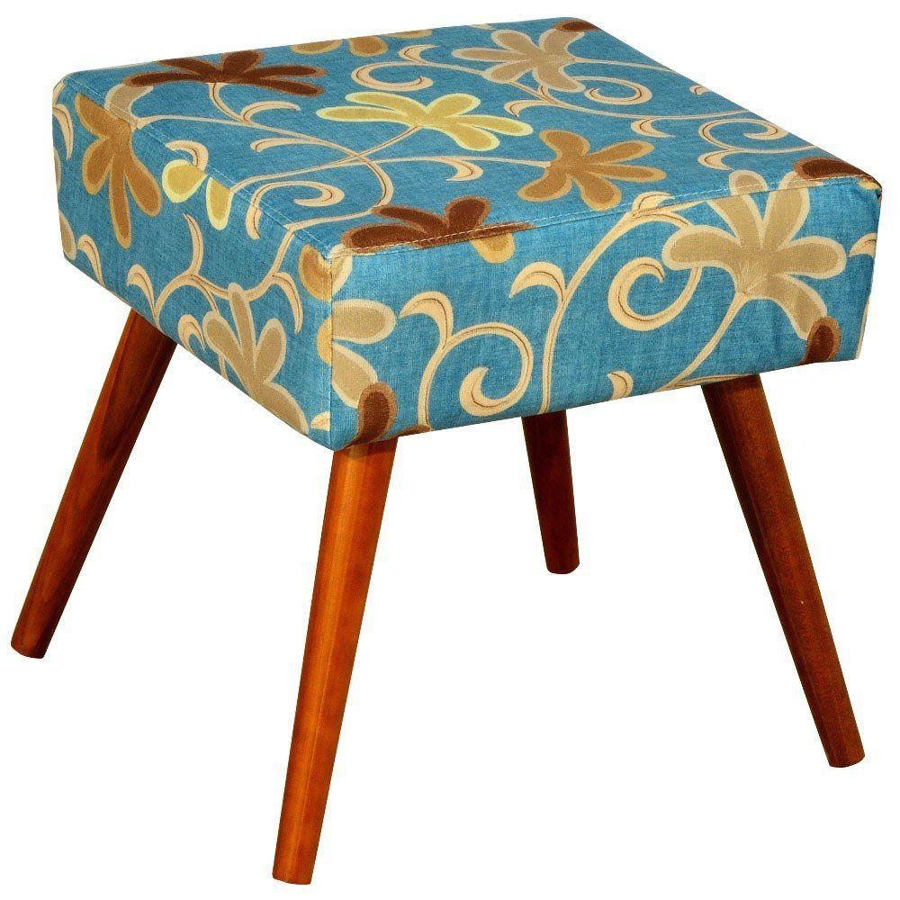 Puff Banqueta Decorativa com Pés Palito Lívia W01 Suede Floral Azul - Lyam Decor