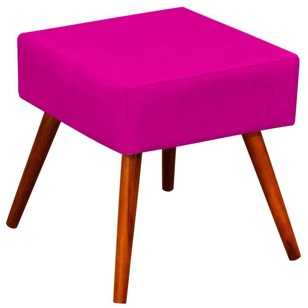 Puff Banqueta Decorativa com Pés Palito Lívia W01 Suede Pink - Lyam Decor