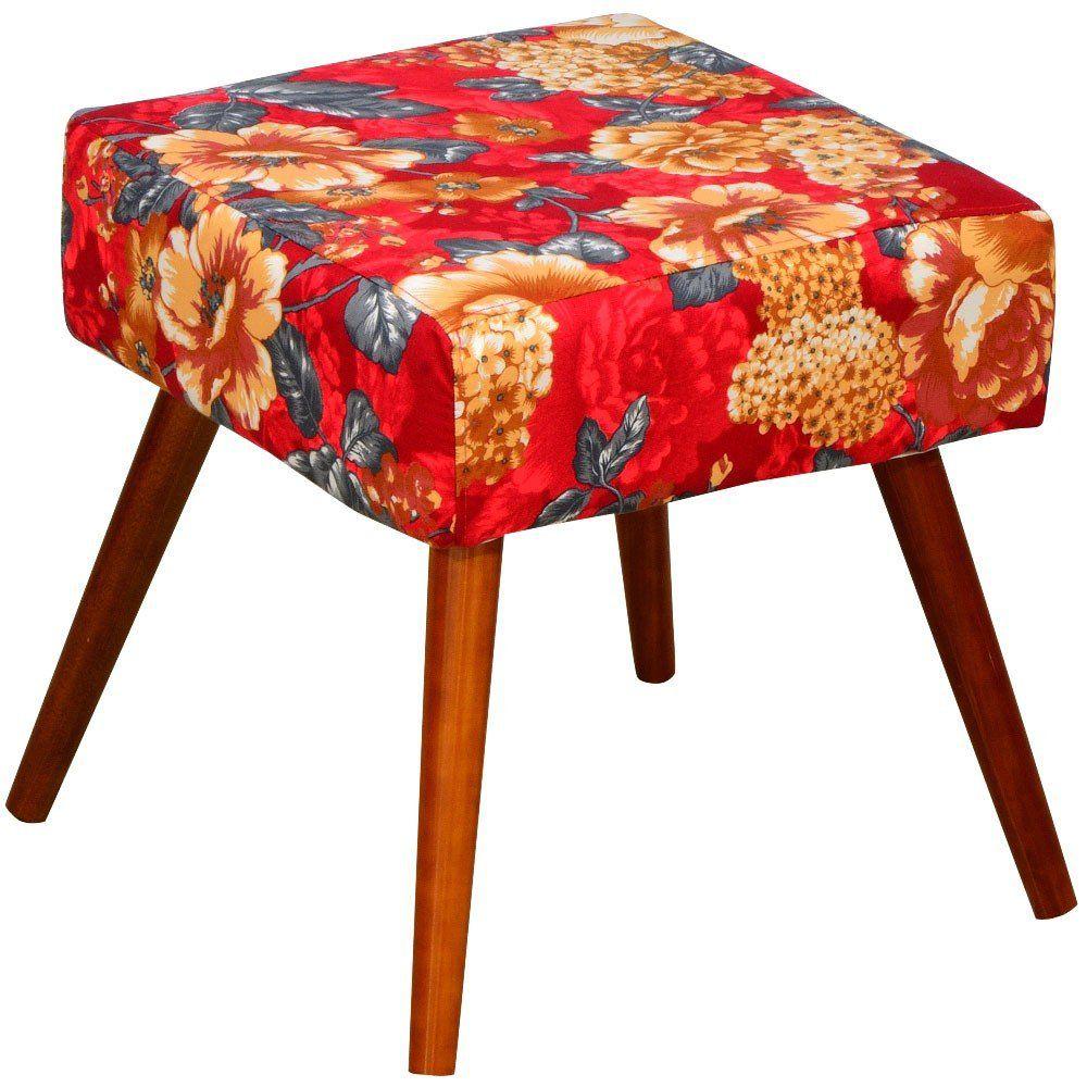 Puff Banqueta Decorativa com Pés Palito Lívia W01 Vermelho Estampado - Lyam Decor