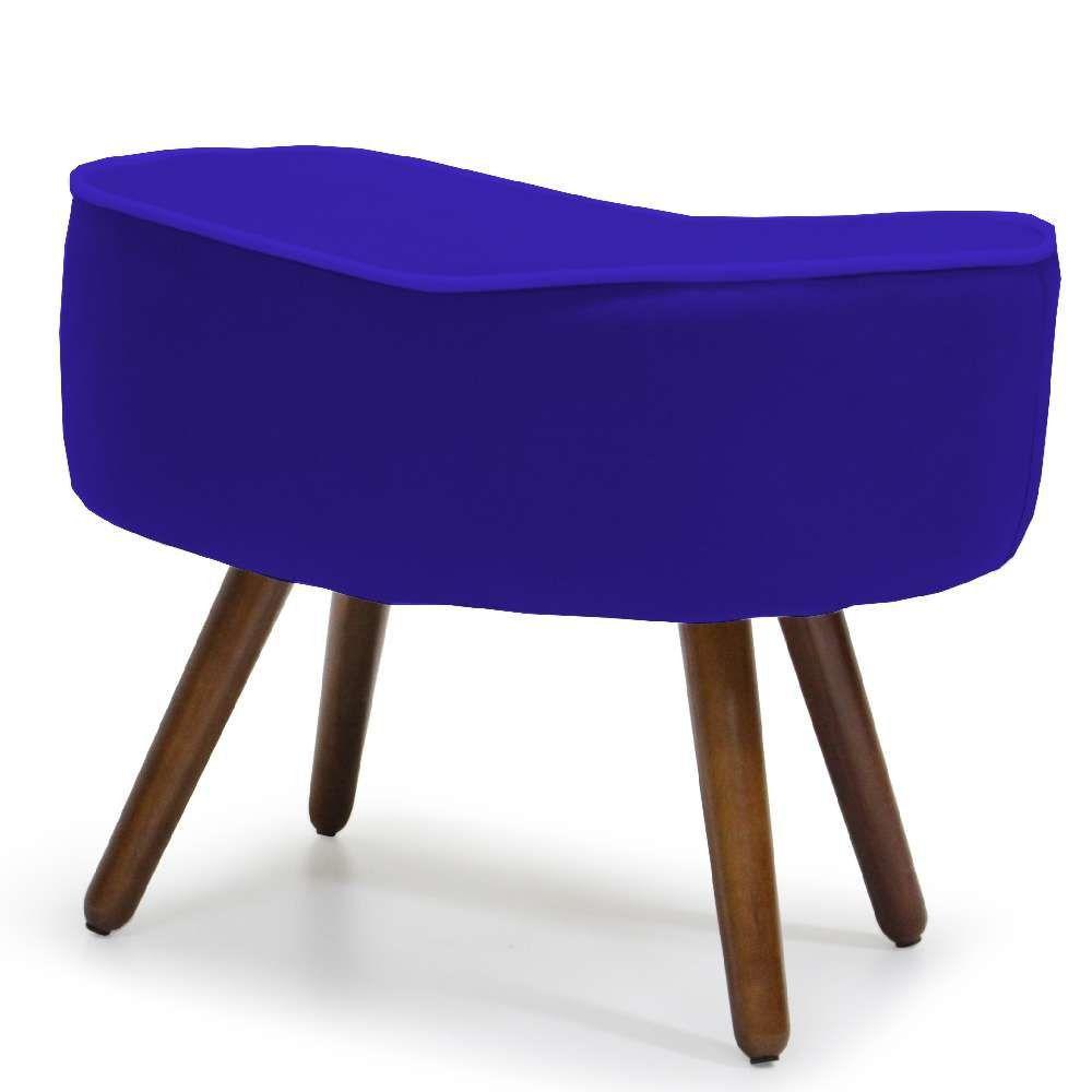 Puff Banqueta Decorativa Para Sala de Estar Kora D02 Veludo Azul Cobalto B-170 - Lyam Decor