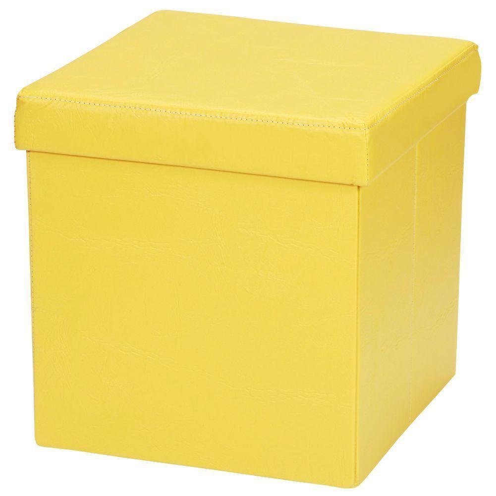 Puff Baú Desmontável Para Sala Quarto Corino Amarelo 38x38 M01 - Lyam Decor