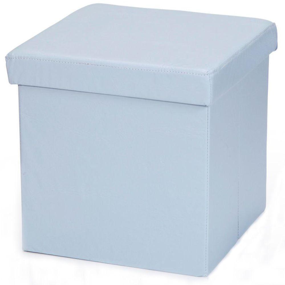 Puff Baú Desmontável Para Sala Quarto Corino Azul 38x38 M01 - Lyam Decor