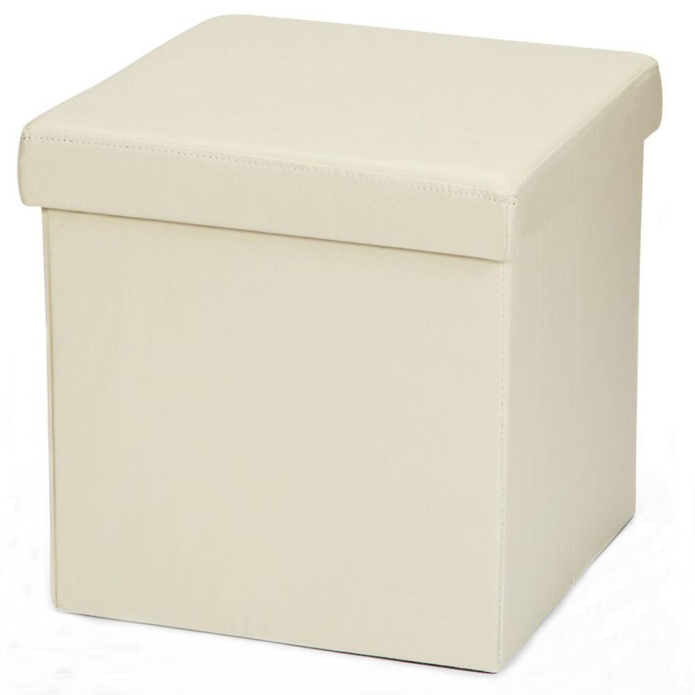 Puff Baú Desmontável Para Sala Quarto Corino Bege 38x38 M01 - Lyam Decor