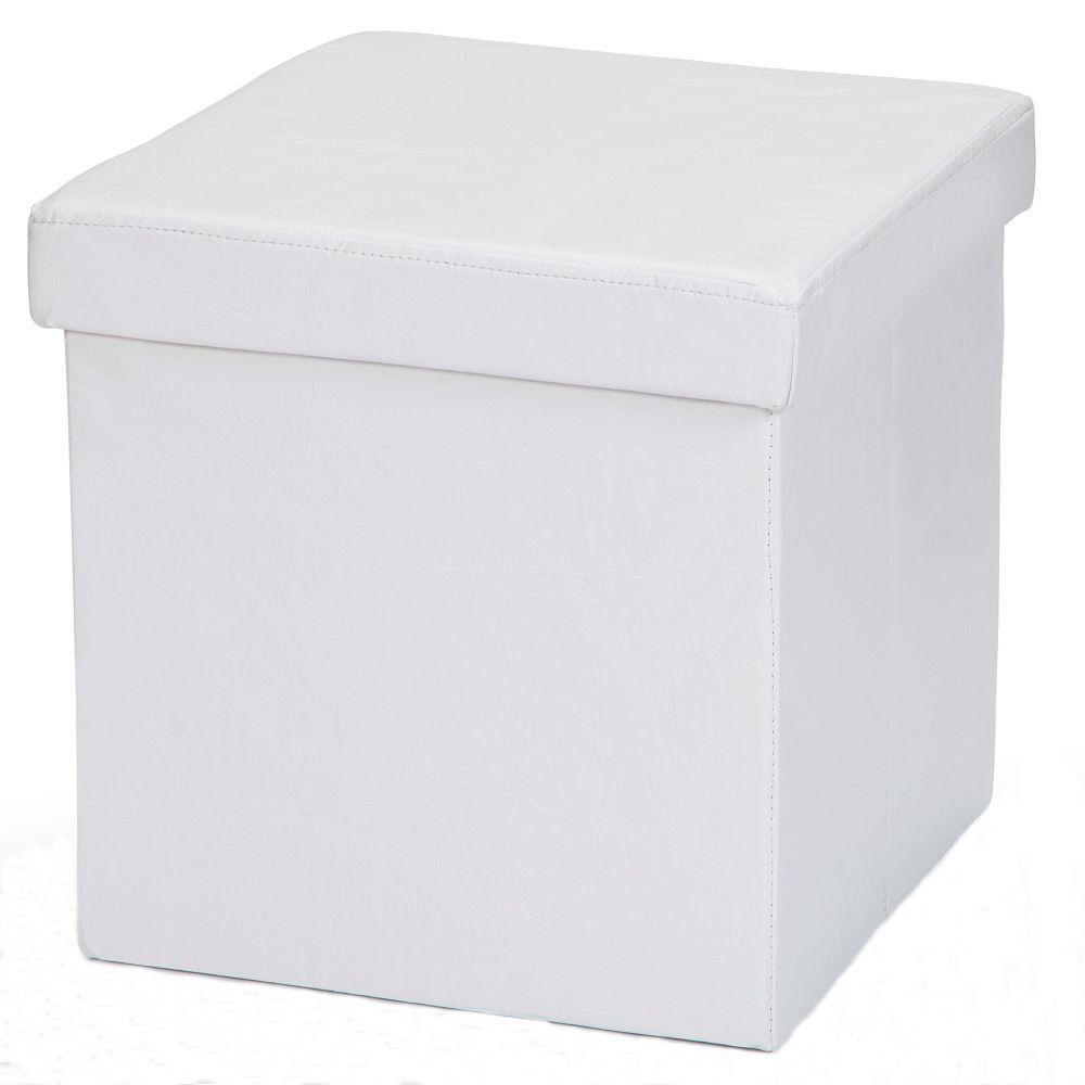 Puff Baú Desmontável Para Sala Quarto Corino Branco 38x38 M01 - Lyam Decor