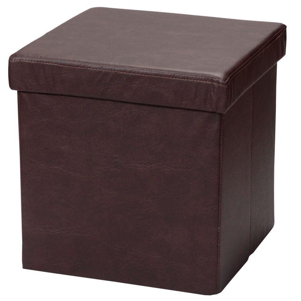 Puff Baú Desmontável Para Sala Quarto Corino Marrom 38x38 M01 - Lyam Decor