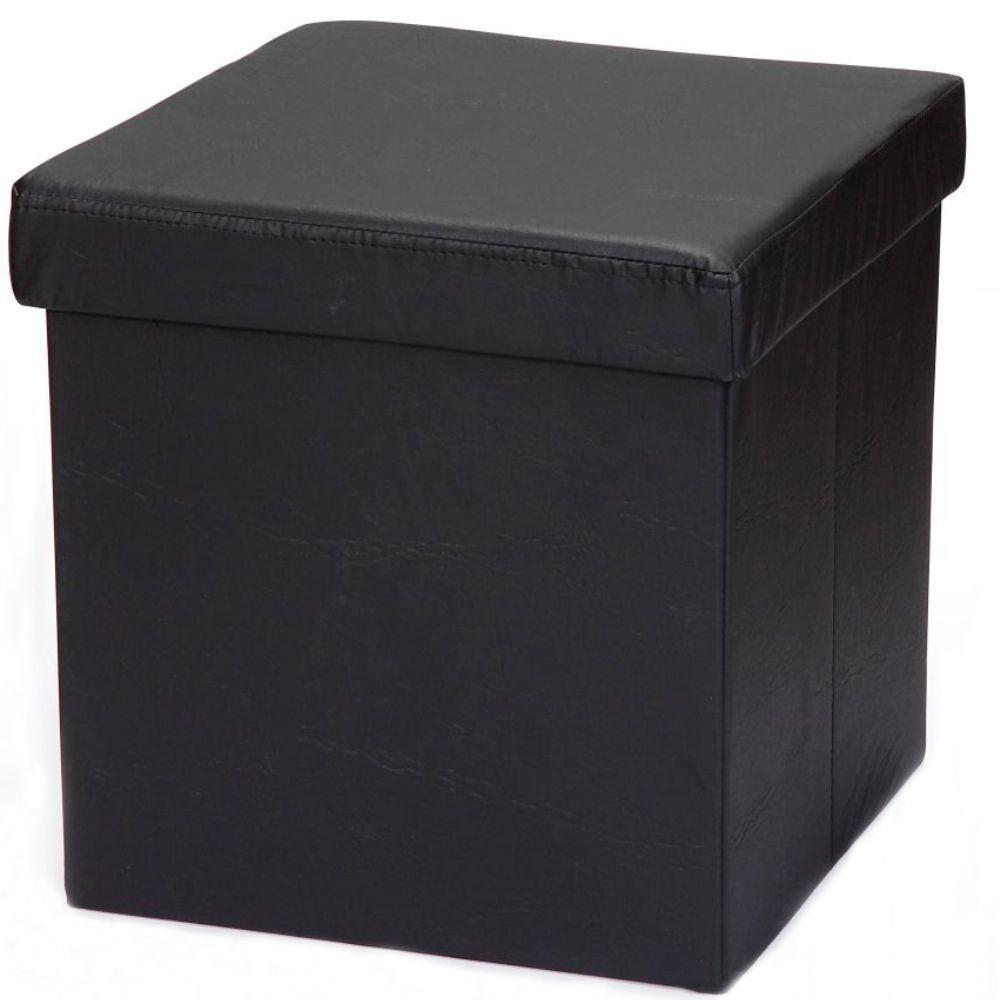 Puff Baú Desmontável Para Sala Quarto Corino Preto 38x38 M01 - Lyam Decor