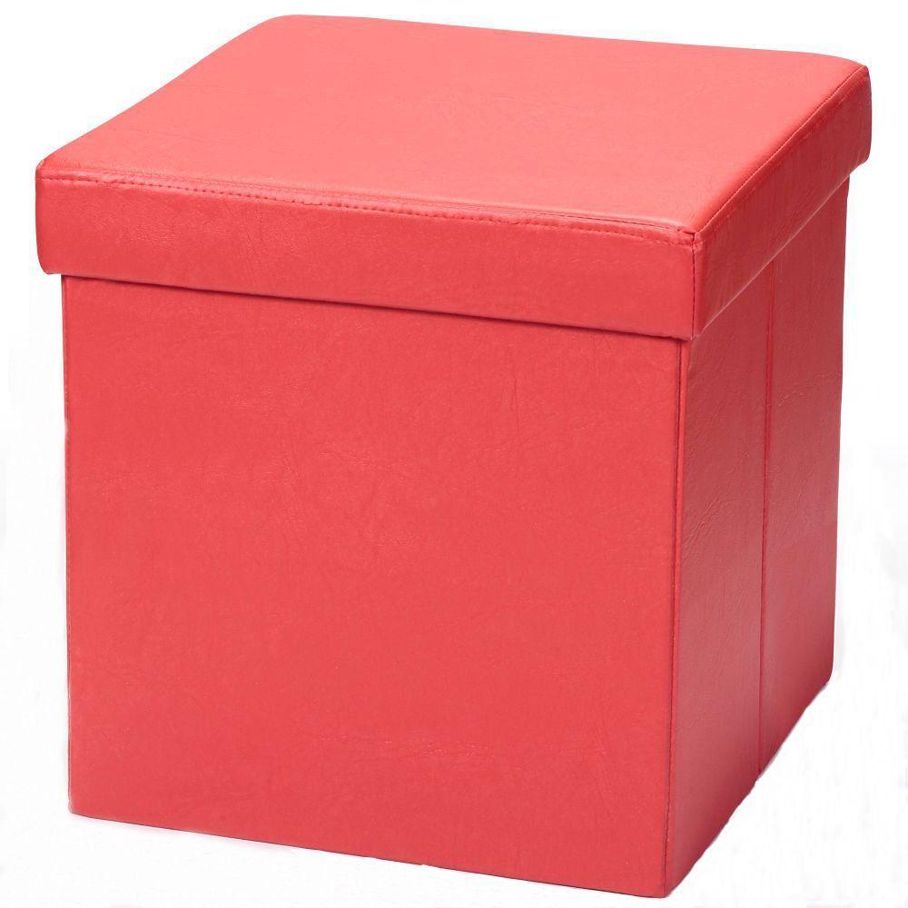 Puff Baú Desmontável Para Sala Quarto Corino Vermelho 38x38 M01 - Lyam Decor