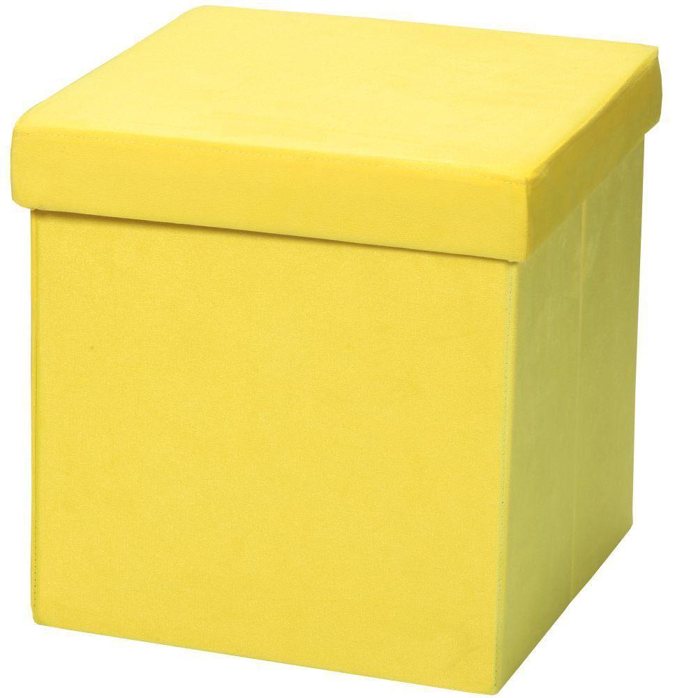 Puff Baú Desmontável Para Sala Quarto Suede Amarelo 38x38 M01 - Lyam Decor
