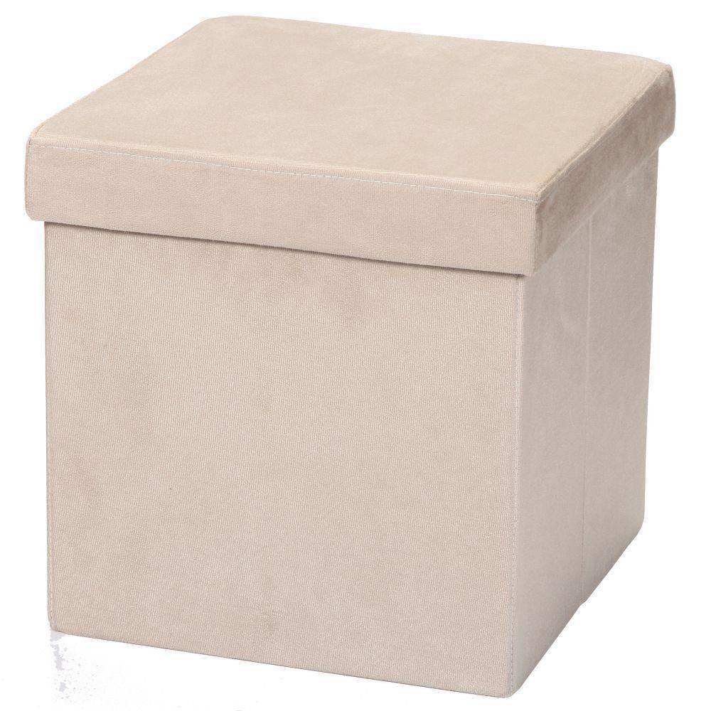 Puff Baú Desmontável Para Sala Quarto Suede Bege 38x38 M01 - Lyam Decor