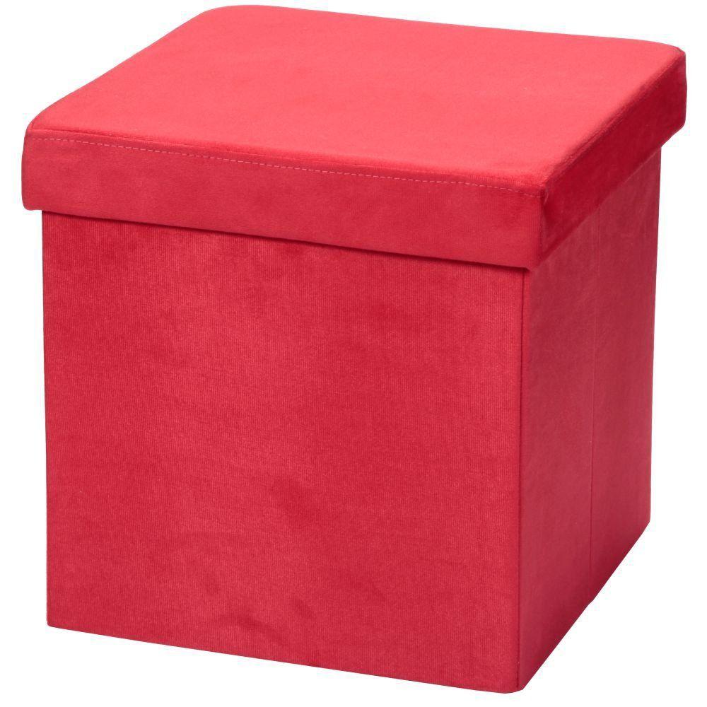 Puff Baú Desmontável Para Sala Quarto Suede Vermelho 38x38 - Lyam Decor