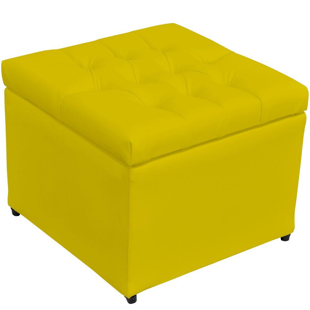 Puff Baú Porta Objetos L02 Captonê 48x48 cm Corino Amarelo - Lyam Decor