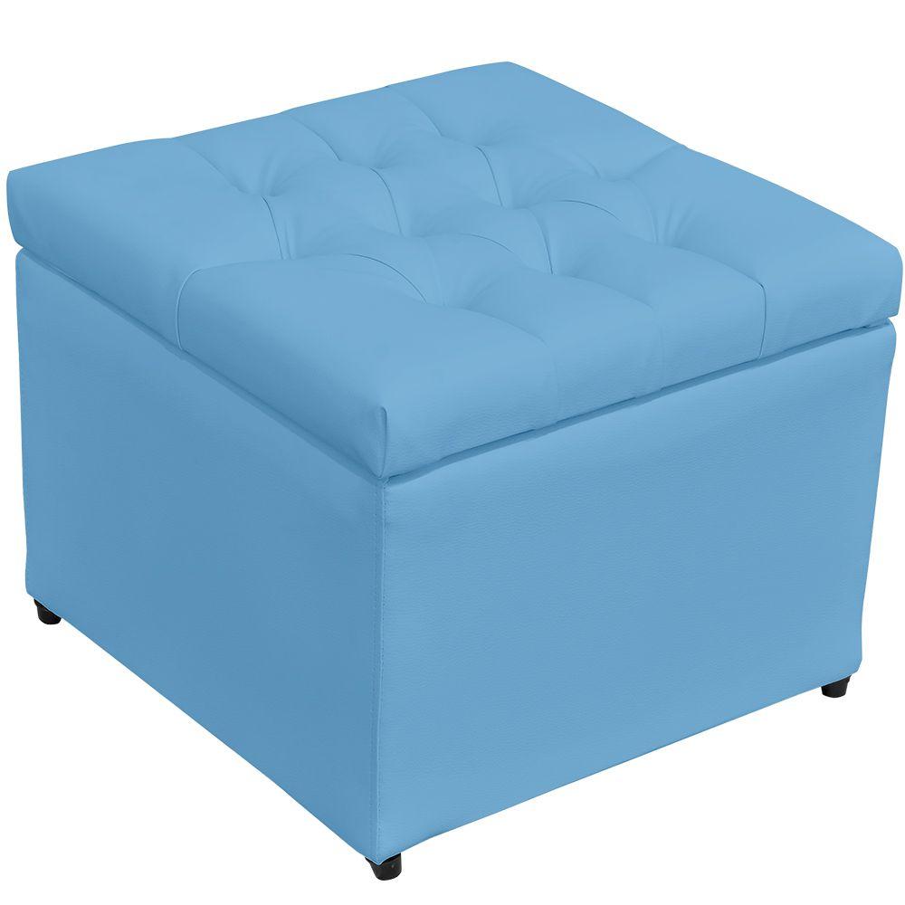 Puff Baú Porta Objetos L02 Captonê 48x48 cm Corino Azul - Lyam Decor