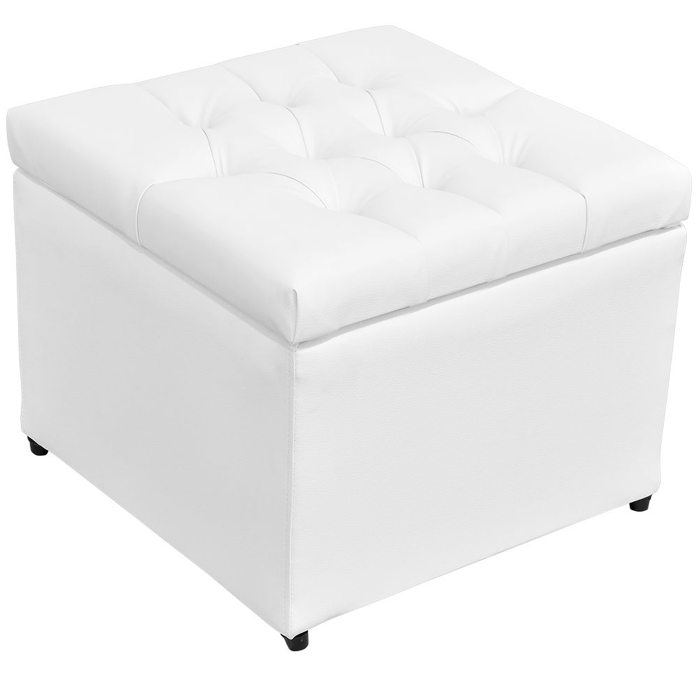 Puff Baú Porta Objetos L02 Captonê 48x48 cm Corino Branco - Lyam Decor