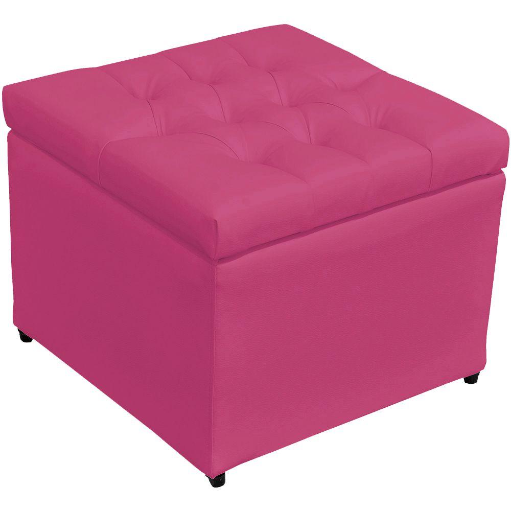 Puff Baú Porta Objetos L02 Captonê 48x48 cm Corino Pink - Lyam Decor