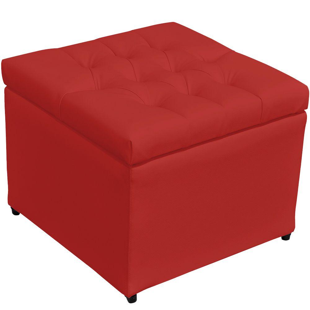 Puff Baú Porta Objetos L02 Captonê 48x48 cm Corino Vermelho - Lyam Decor