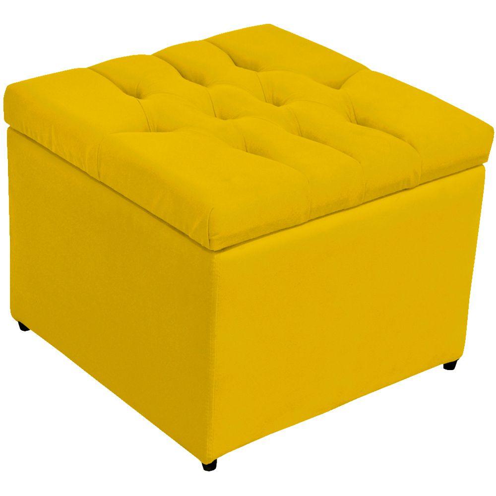 Puff Baú Porta Objetos L02 Captonê 48x48 cm Suede Amarelo - Lyam Decor