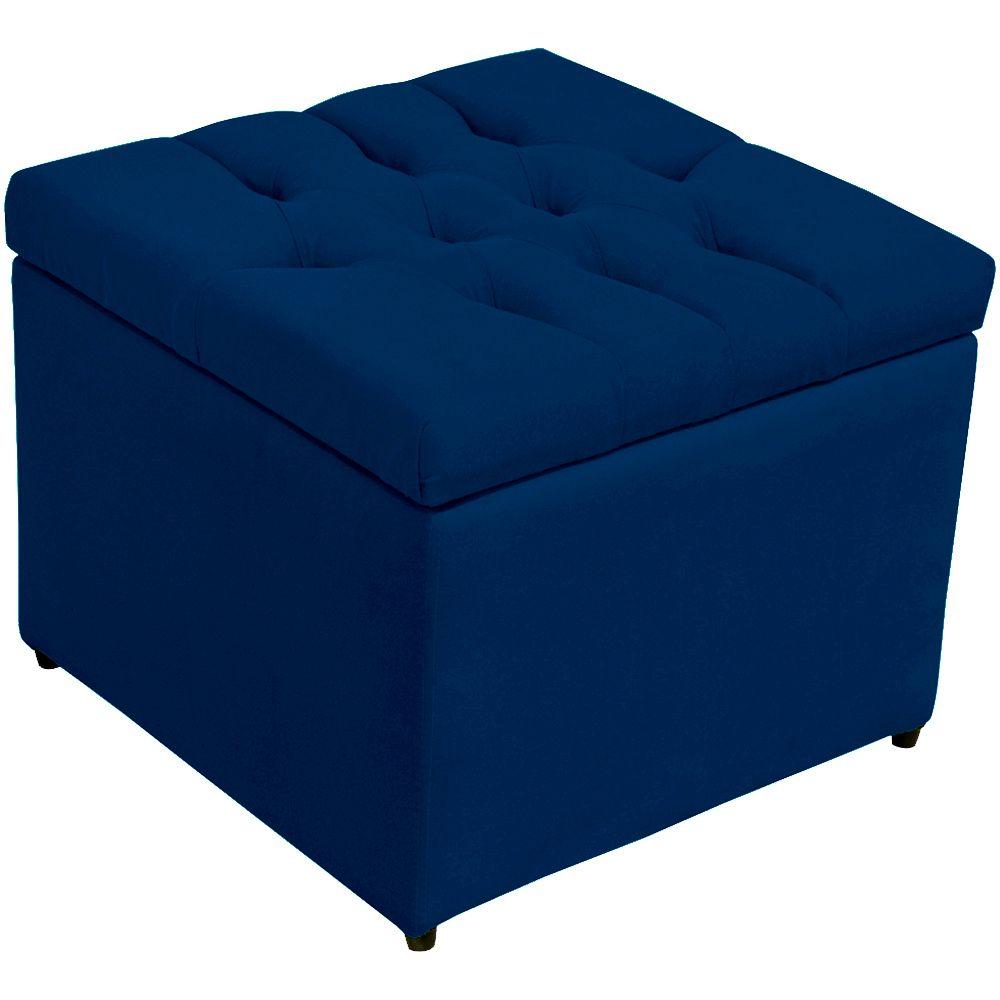 Puff Baú Porta Objetos L02 Captonê 48x48 cm Suede Azul Marinho - Lyam Decor