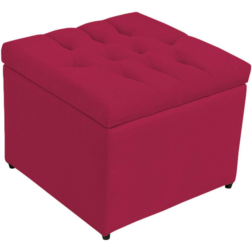 Puff Baú Porta Objetos L02 Captonê 48x48 cm Suede Pink - Lyam Decor
