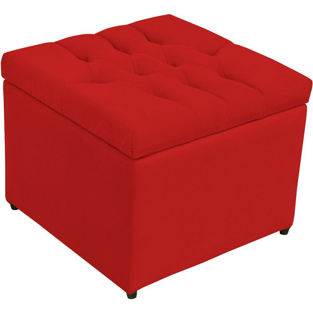 Puff Baú Porta Objetos L02 Captonê 48x48 cm Suede Vermelho - Lyam Decor