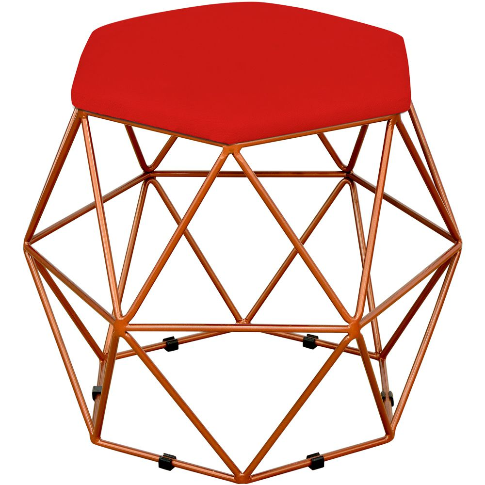 Puff Decorativo Aramado Bronze Six L02 Suede Vermelho - Lyam Decor