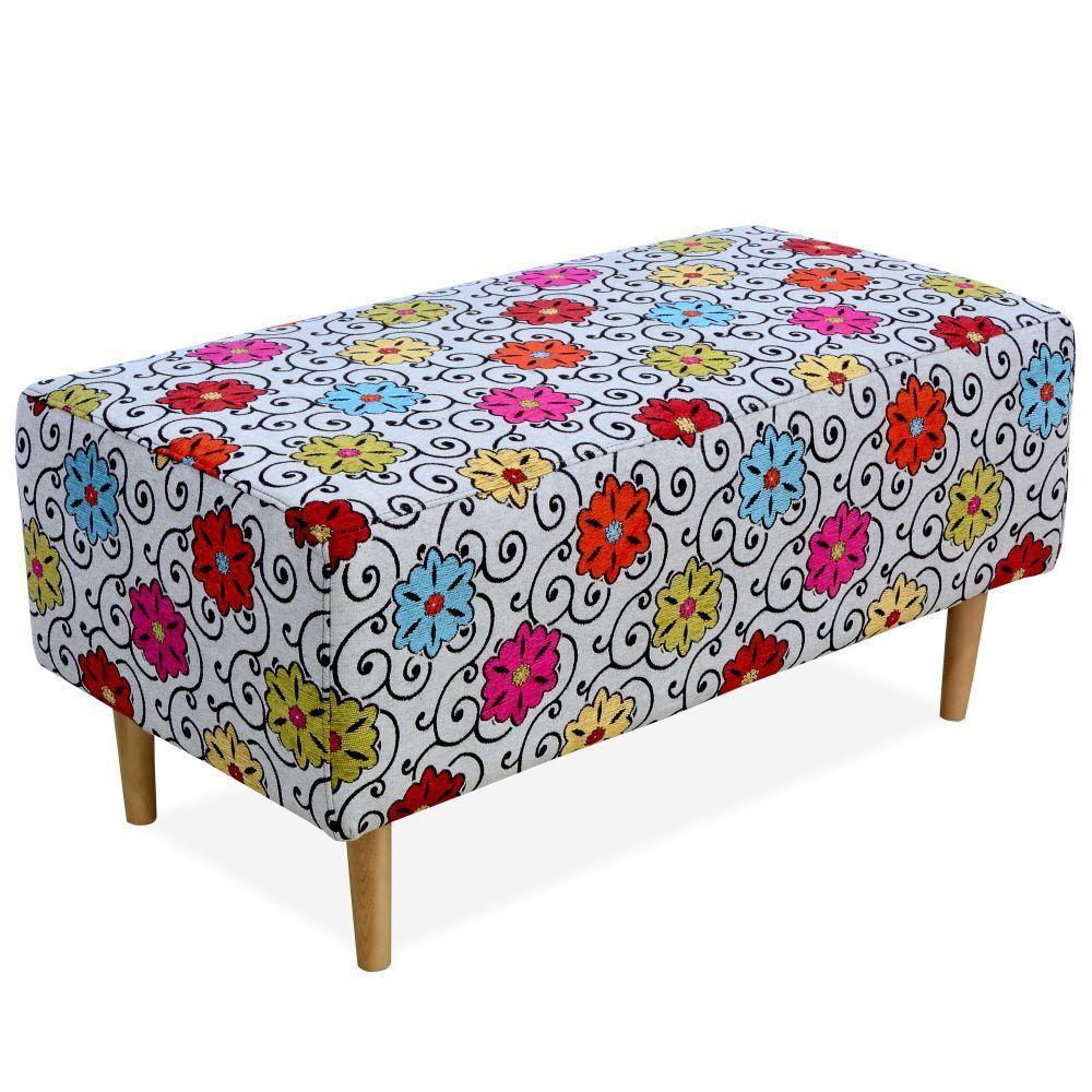 Puff Decorativo Sala de Estar Cléo W01 Pés Palito 90 cm Linho Floral - Lyam Decor