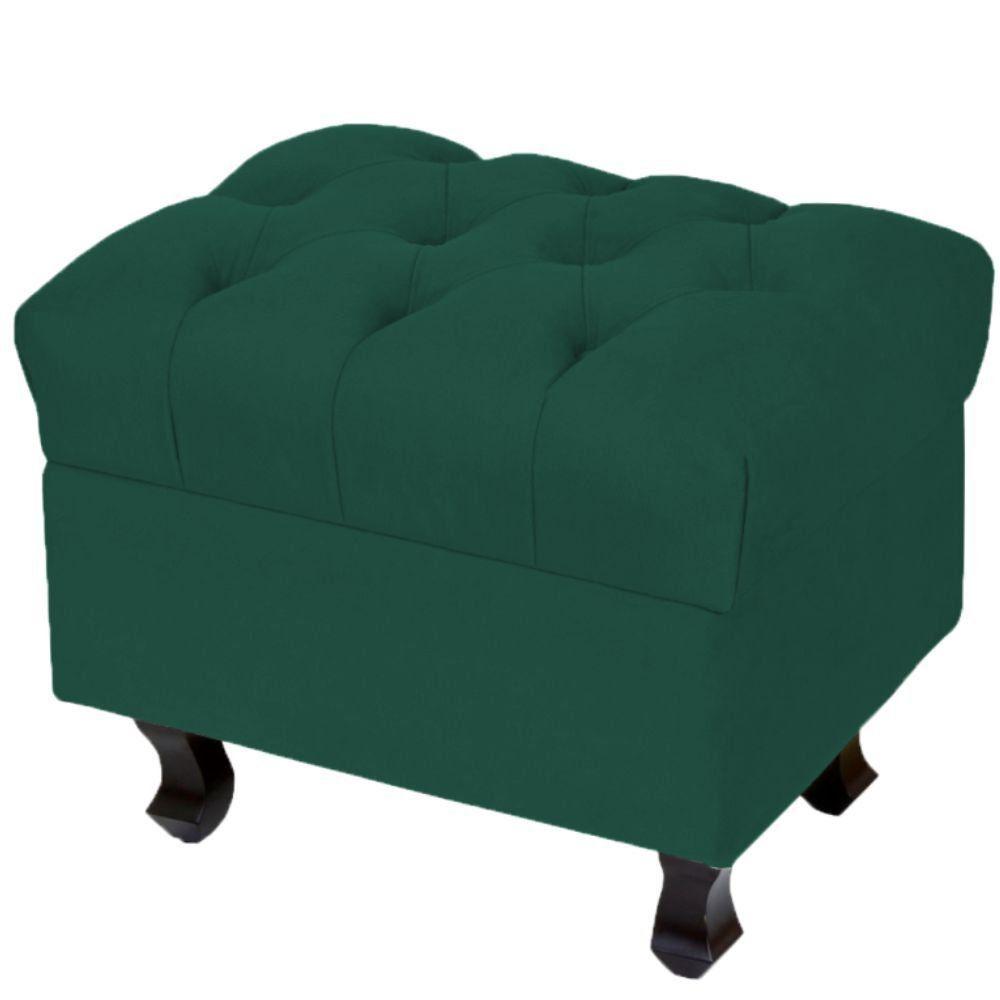 Puff Decorativo París Luis Xv L02 Capitone Suede Verde Musgo - Lyam Decor