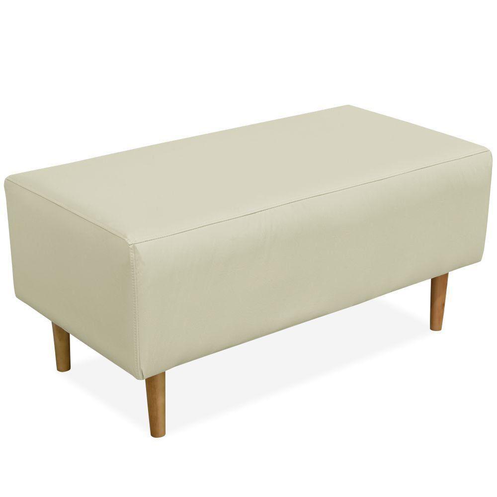 Puff Decorativo Sala de Estar Cléo W01 Pés Palito 90 cm Corino Bege - Lyam Decor