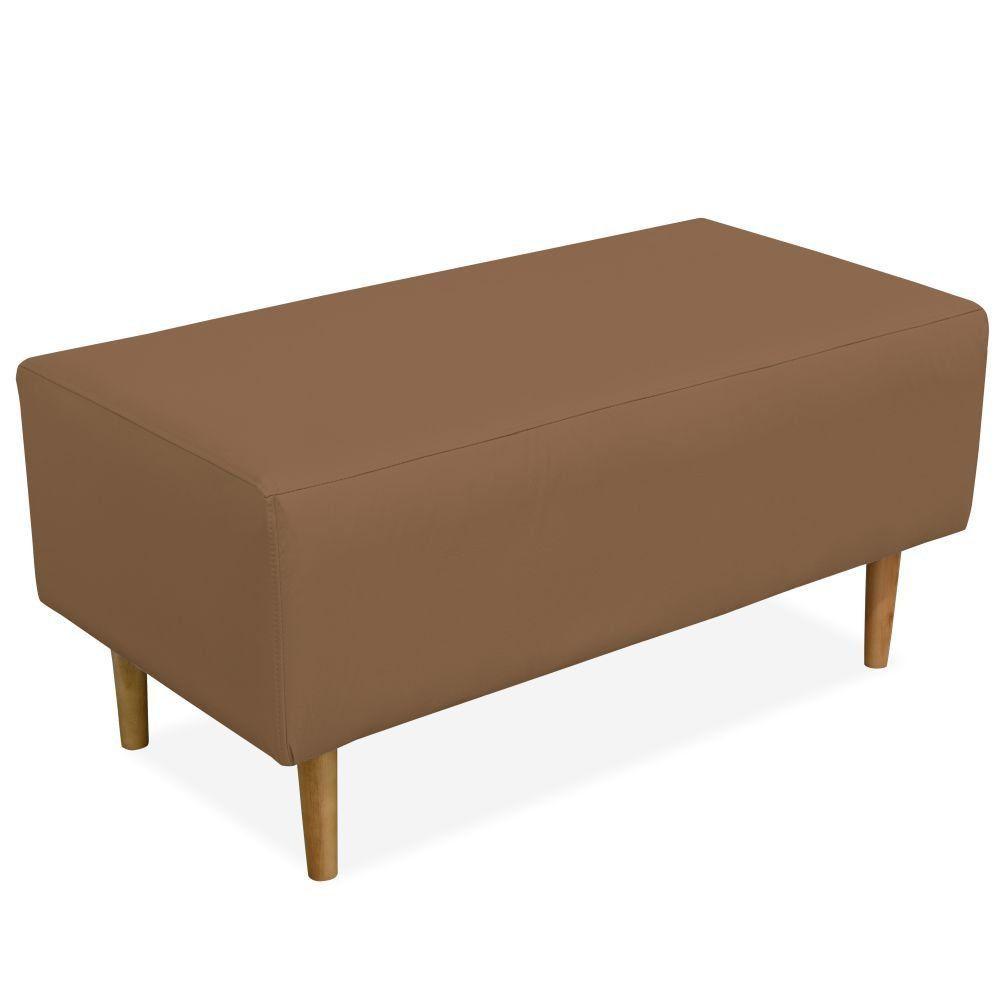 Puff Decorativo Sala de Estar Cléo W01 Pés Palito 90 cm Corino Camel - Lyam Decor