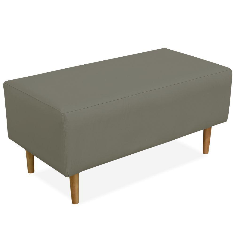 Puff Decorativo Sala de Estar Cléo W01 Pés Palito 90 cm Corino Cinza - Lyam Decor