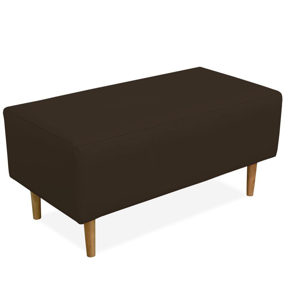 Puff Decorativo Sala de Estar Cléo W01 Pés Palito 90 cm Corino Marrom - Lyam Decor