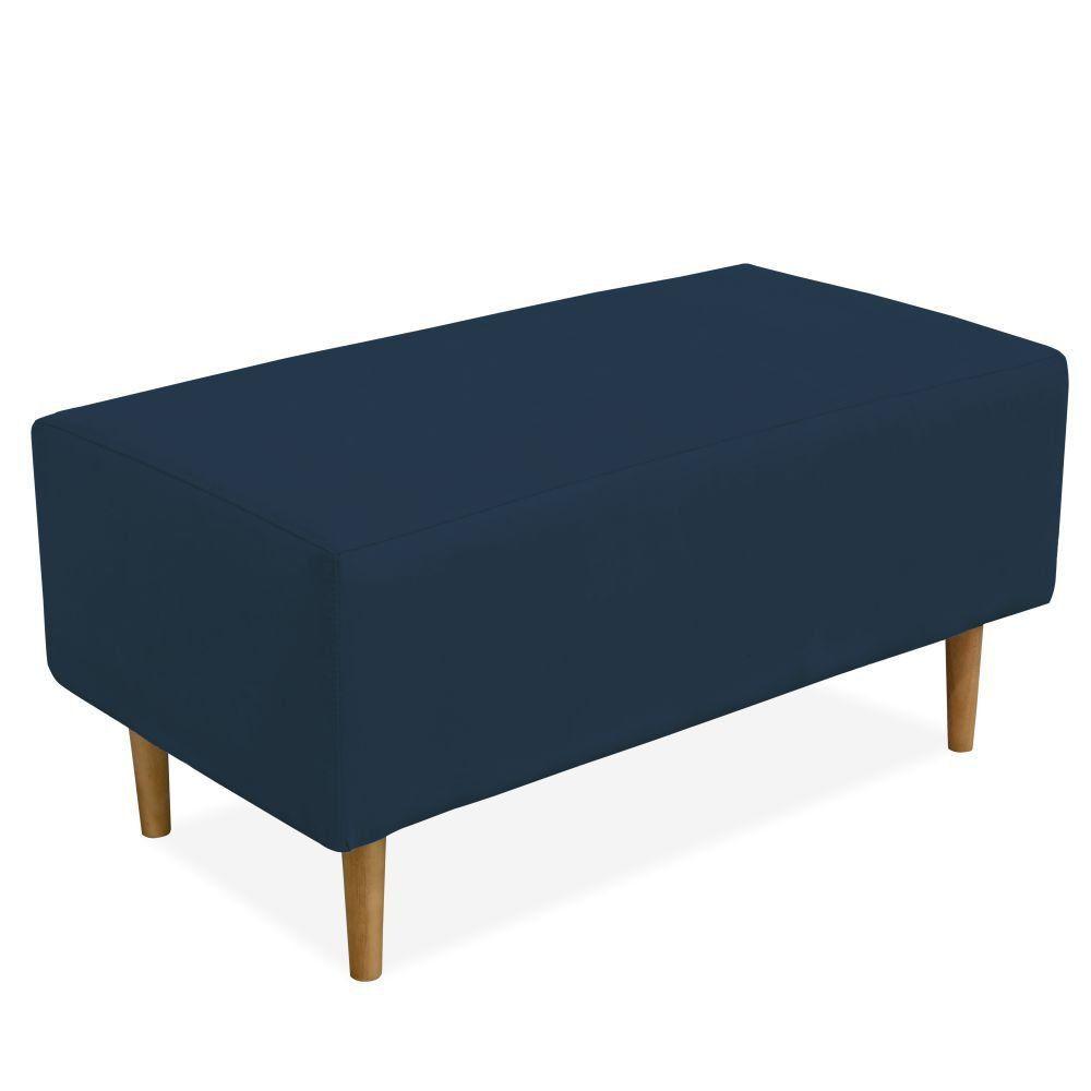 Puff Decorativo Sala de Estar Cléo W01 Pés Palito 90 cm Suede Azul Marinho - Lyam Decor