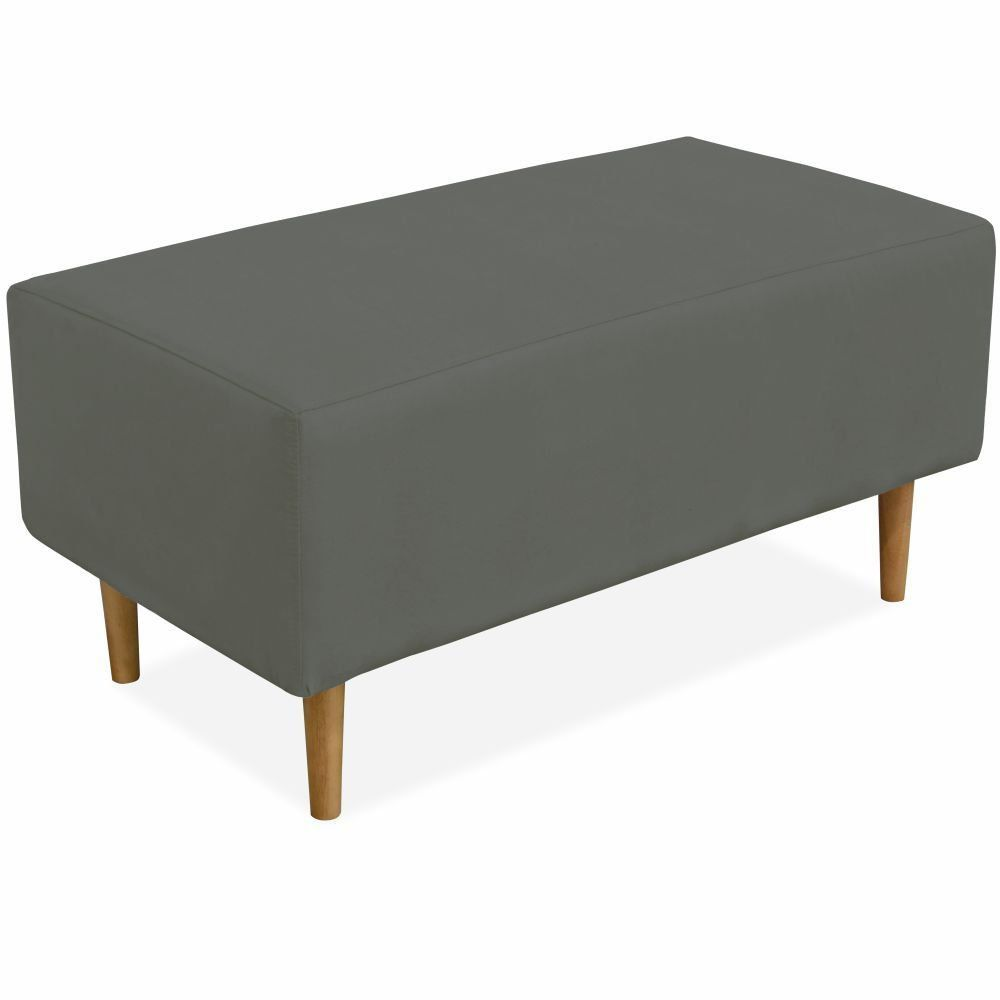 Puff Decorativo Sala de Estar Cléo W01 Pés Palito 90 cm Suede Cinza - Lyam Decor