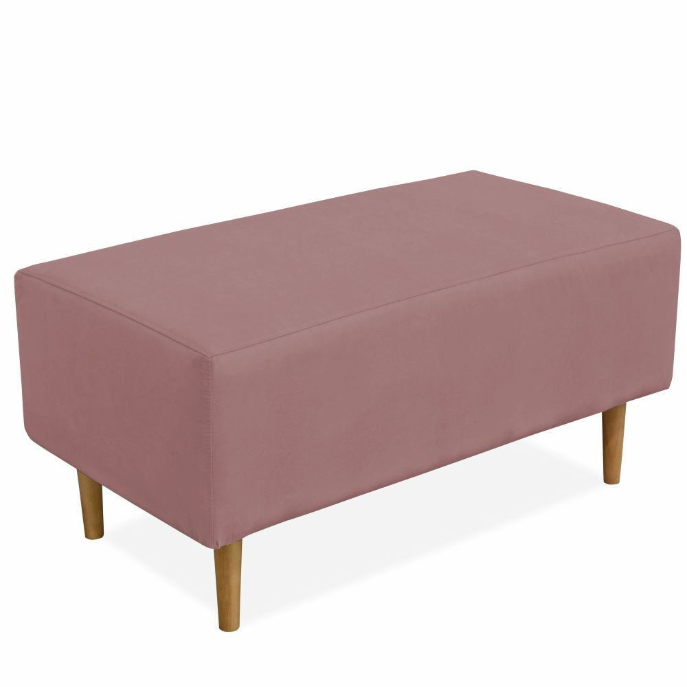 Puff Decorativo Sala de Estar Cléo W01 Pés Palito 90 cm Suede Rosê - Lyam Decor