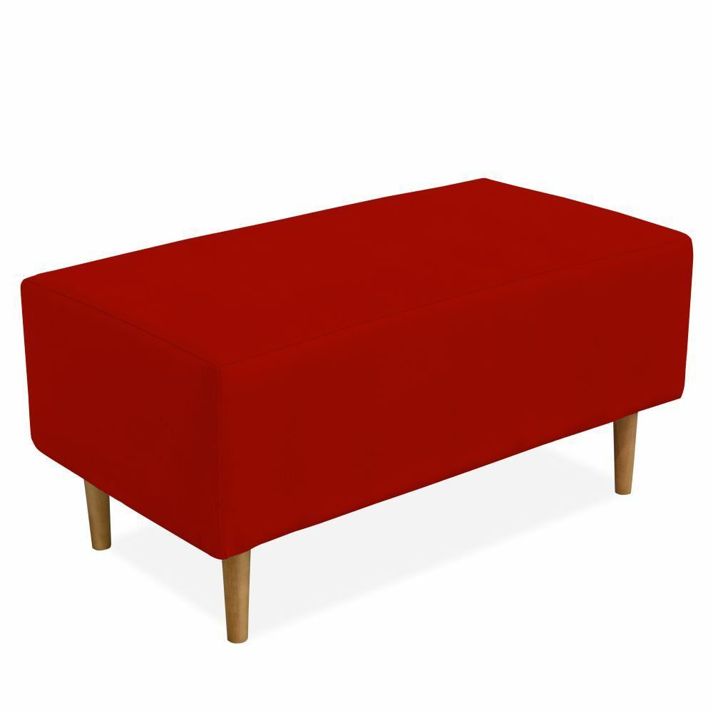 Puff Decorativo Sala de Estar Cléo W01 Pés Palito 90 cm Suede Vermelho - Lyam Decor