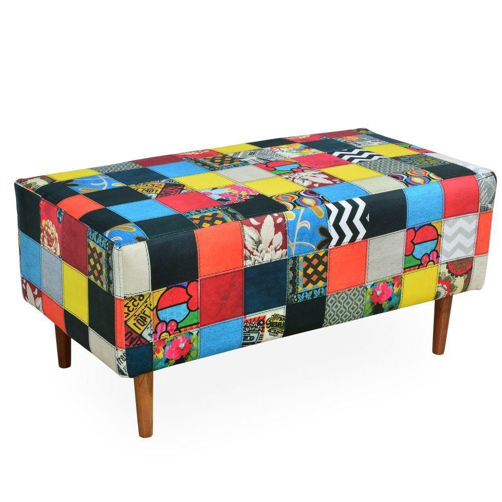 Puff Decorativo Sala de Estar Cléo W01 Pés Palito 90 cm Patchwork - Lyam Decor