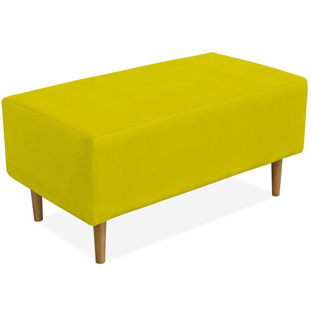 Puff Decorativo Sala de Estar Cléo W01 Pés Palito 90 cm Suede Amarelo - Lyam Decor