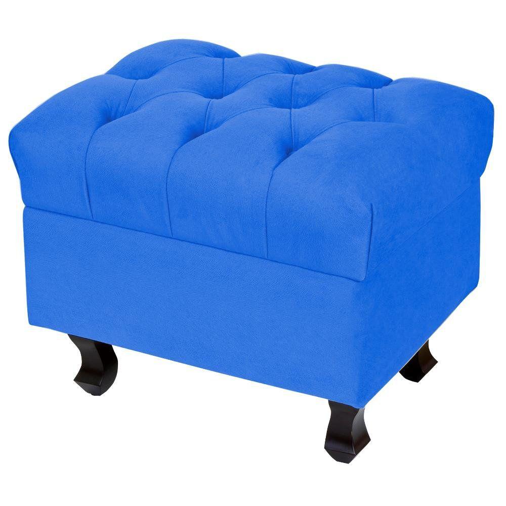 Puff Paris Luis Xv L02 Capitone Tecido Azul Royal Pés Madeira - Lyam Decor