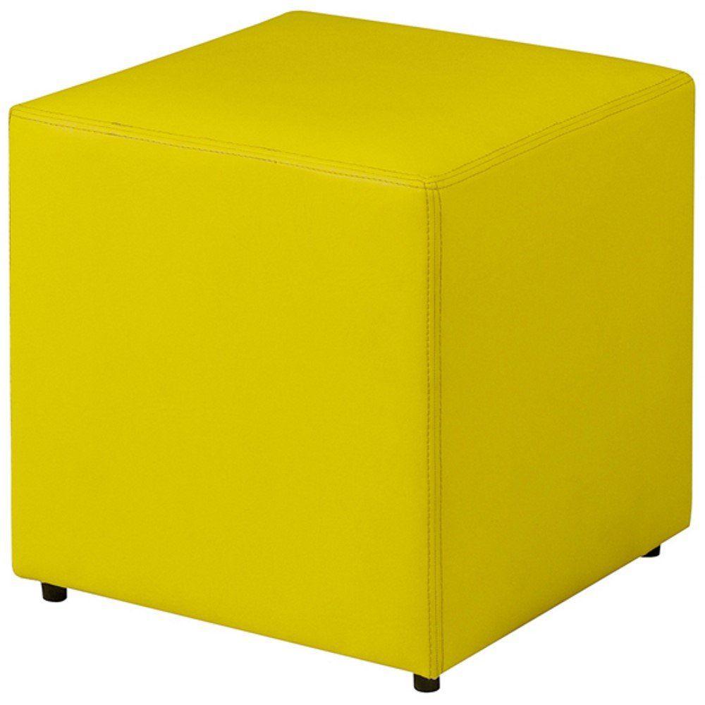 Puff Quadrado Decorativo L02 Corino Amarelo - Lyam Decor